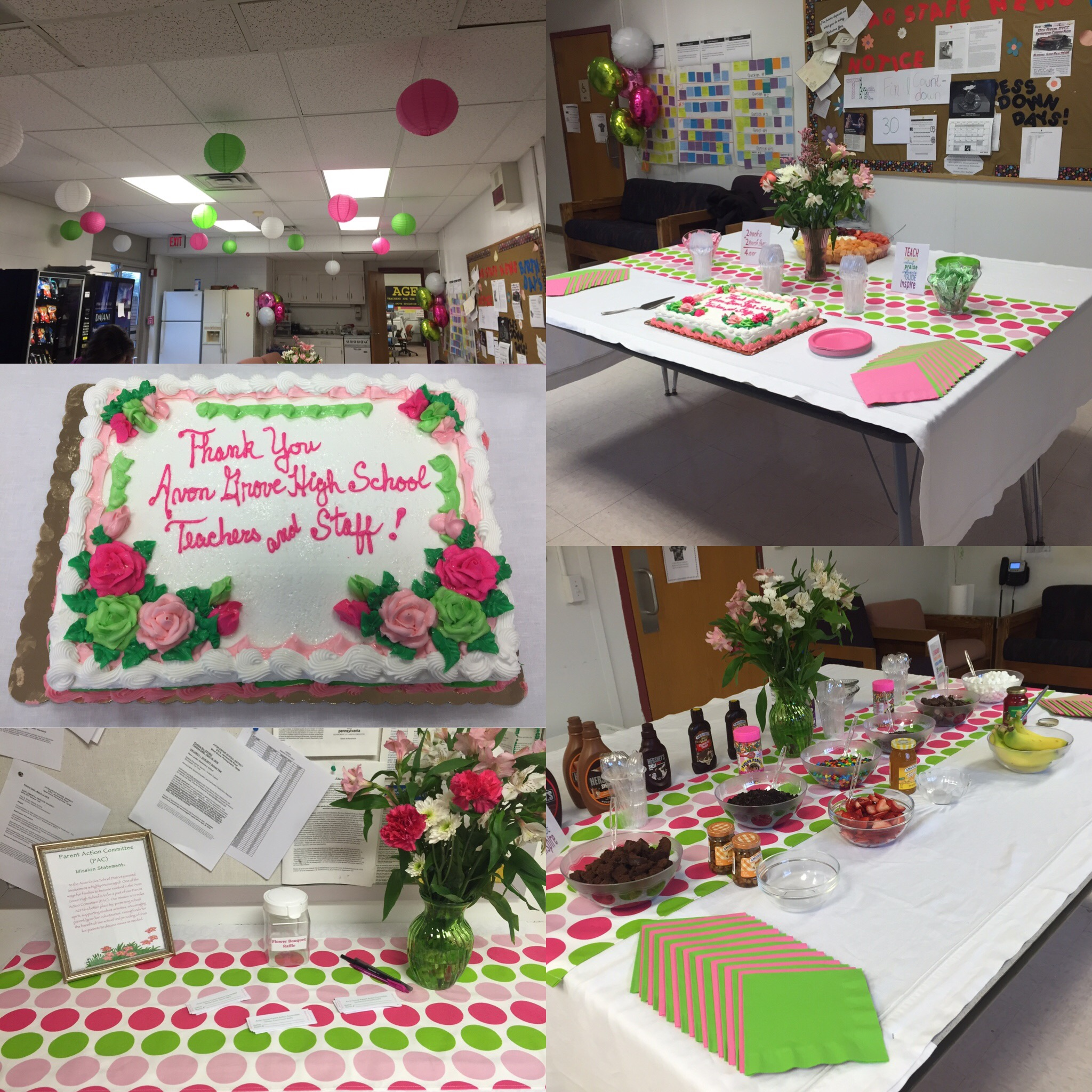 Cake and decorations for teacher appreciaiton day.